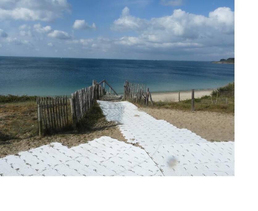 Le sentier côtier au bout du jardin, et l'escalier qui descend sur la plage.