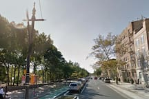 Prospect Park on left, Building on right