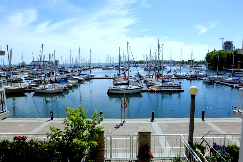 Suite overlooking the marina - 15 steps (literarily) to the lake and waterfront trail