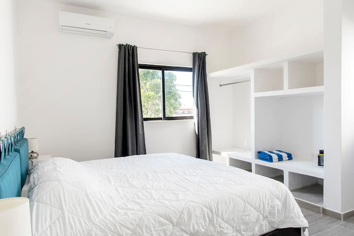 Bedroom with King size bed, AC and security box