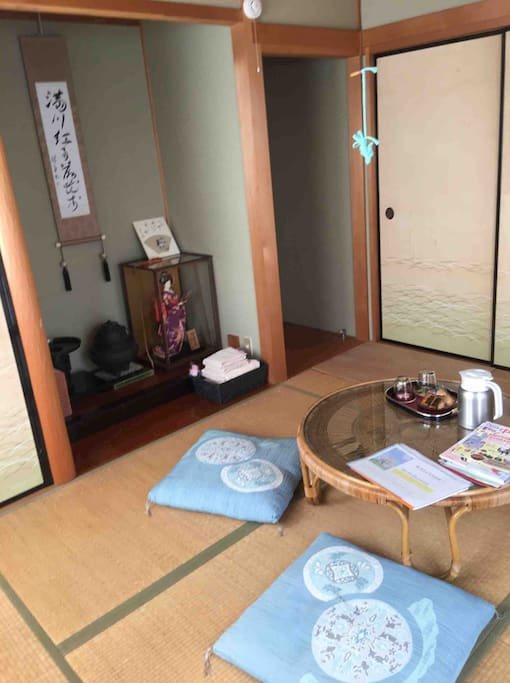 """your staying room , Japanese traditional """"tatami """". room,   no shoose This room is made for guests specially."""