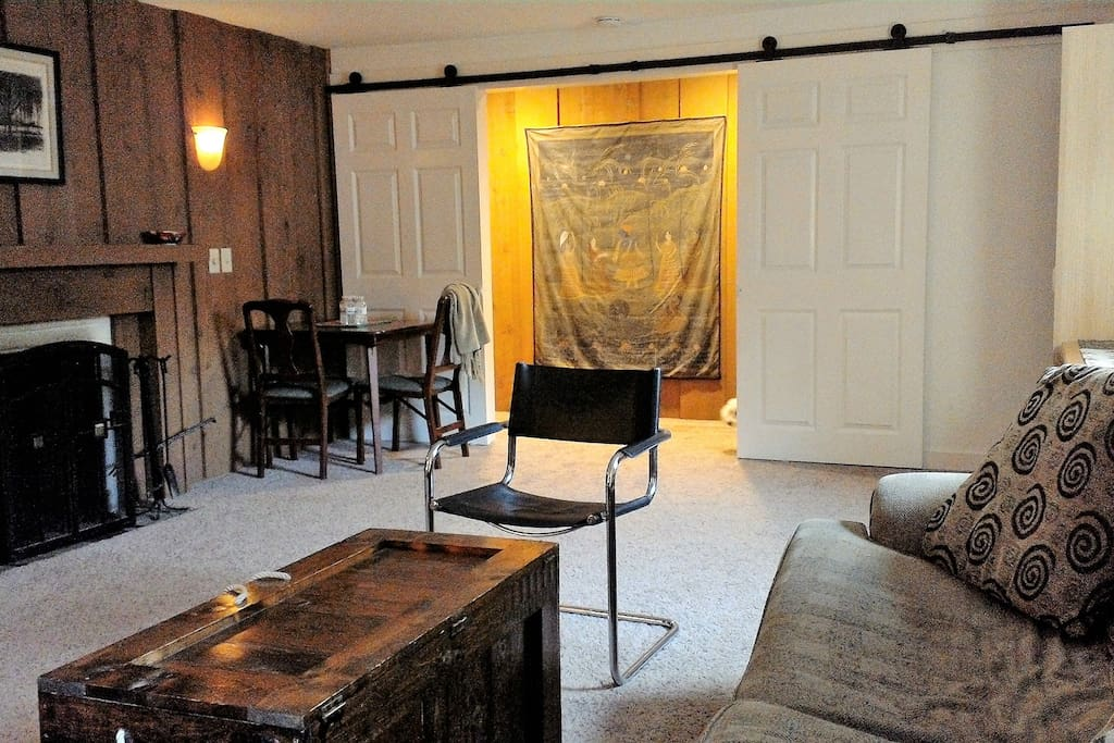 Fireplace and table