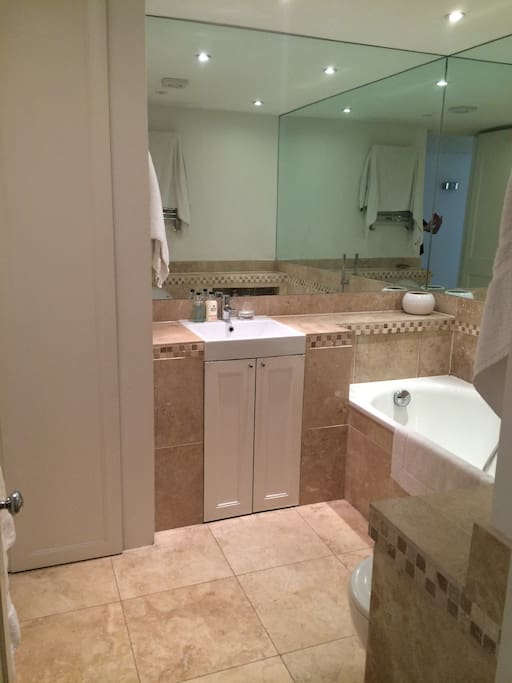 Master Bathroom with toilet, bath and shower head