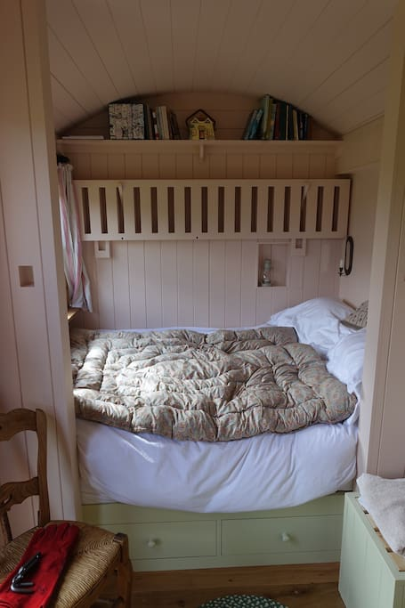 Double bed, fresh white linen, vintage feather eider down