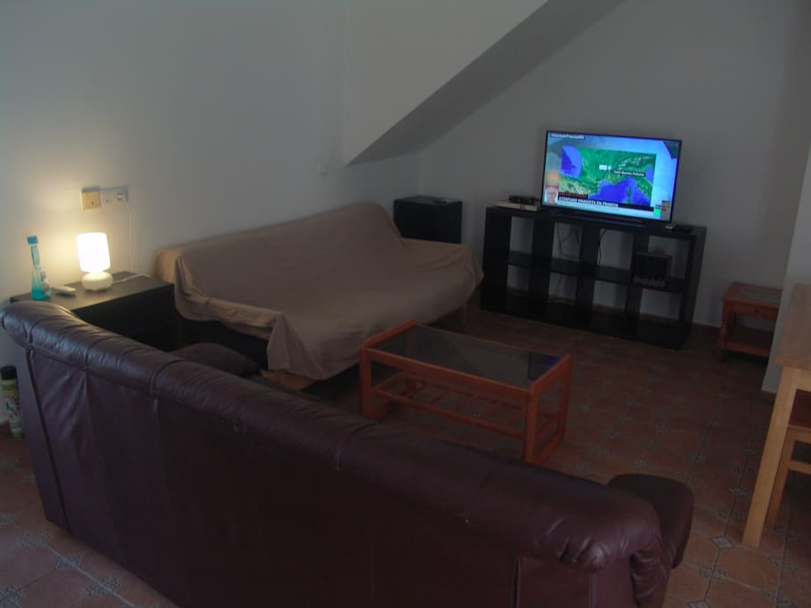 Salón con A/A, tv plana, DVD, antena parabólica y algunos libros