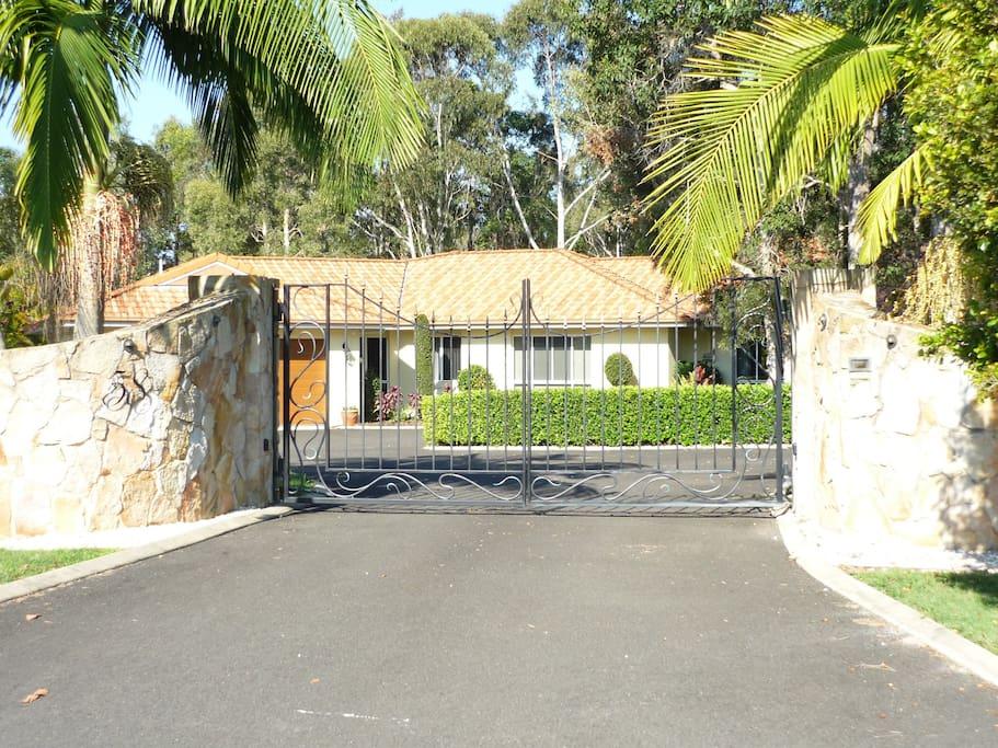Entrance gates to house