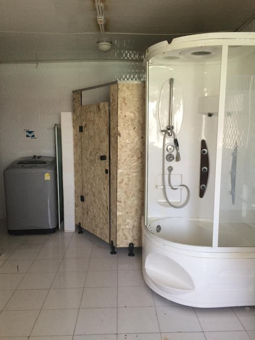 washing machine, shower and toilet