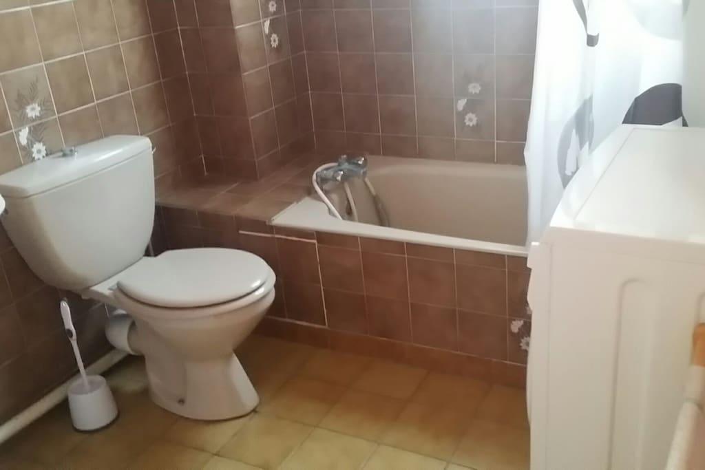 Grande salle de bains, avec lave-linge.