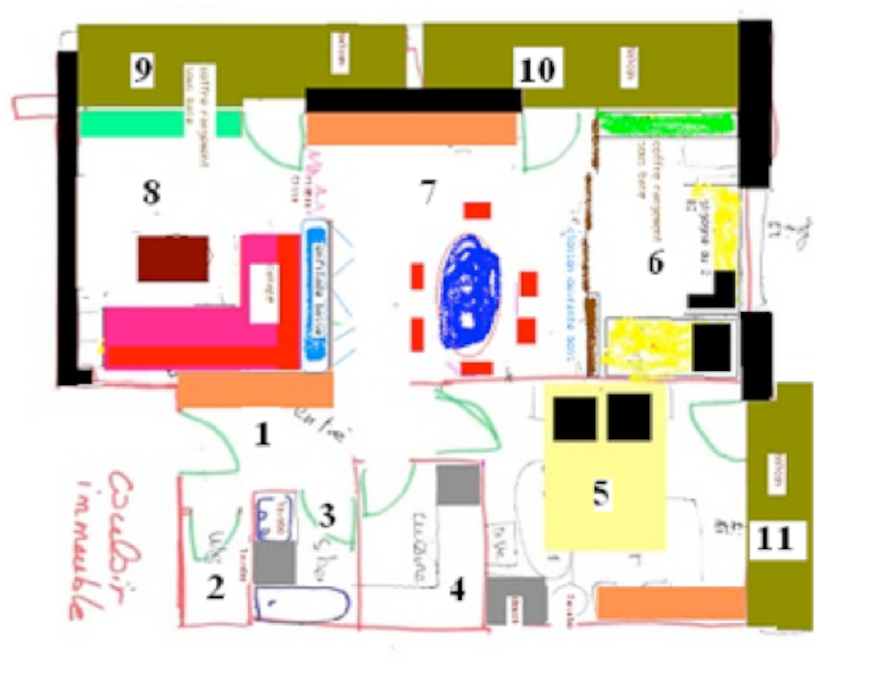 PLAN Plan de l'appartement: deux chambres, sujet, coin repas