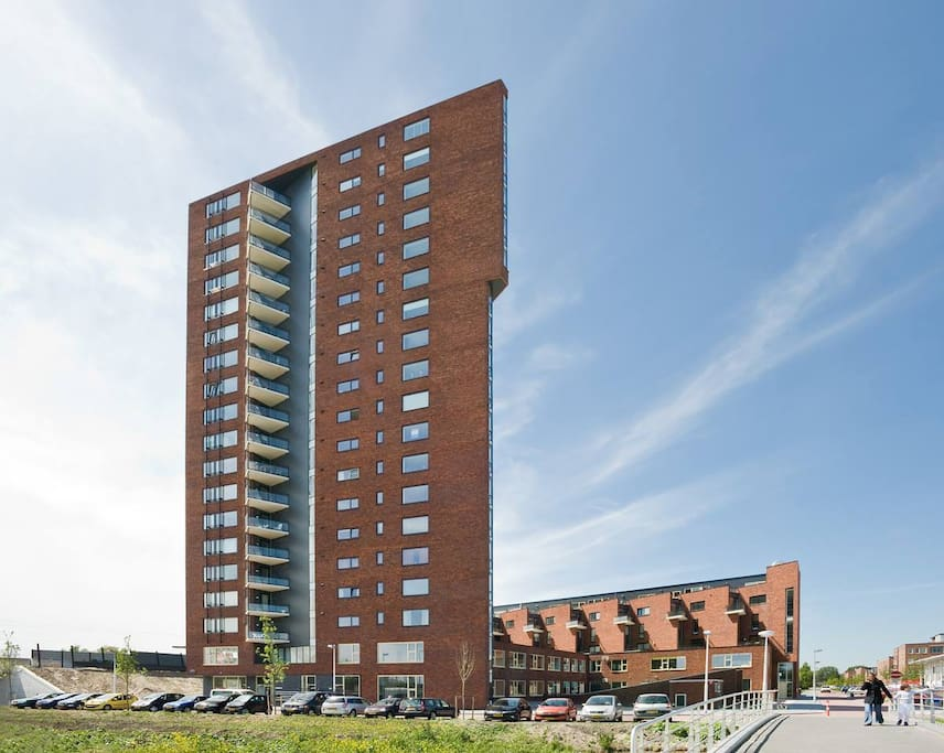 The apartment building, right next to Terwijde train station (7 minutes to Utrecht central station)