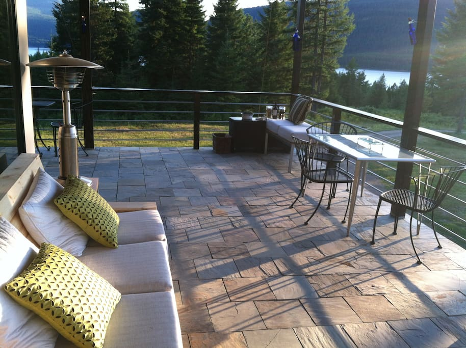 Relax on the deck and watch the sunset or the sunrise.  Gorgeous water and mountain views.