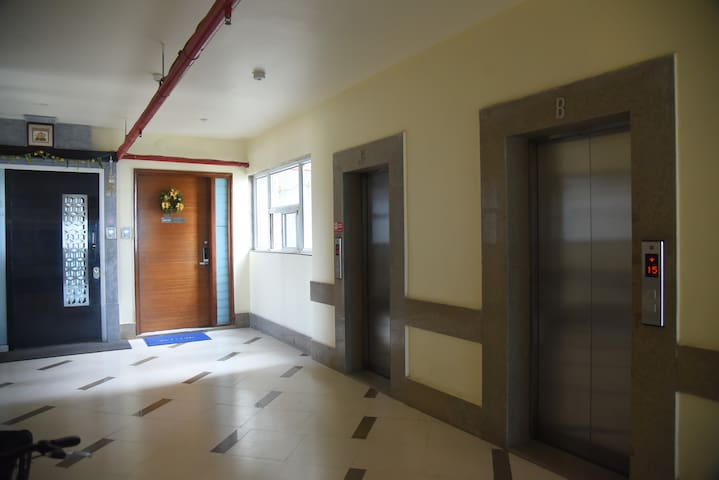 Three elevators and a welcoming open space on each floor.