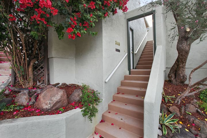 Up the stairs to the patio.