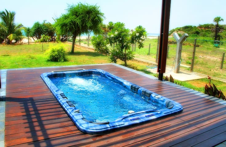 A King Size Swim Spa that can Accomodate 6 adults. This High Pressure is the perfect wind down after a long soak in the ocean.