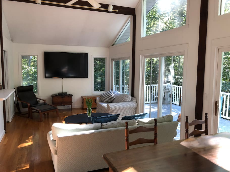 Great room opens to deck.