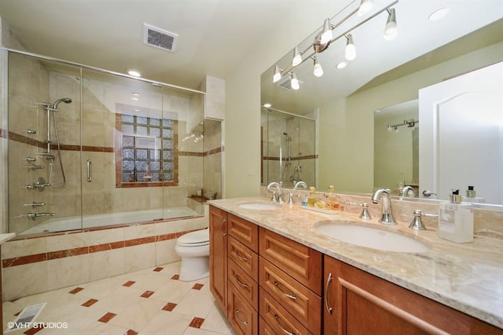 Master bathroom with Jacuzzi tub and multi sprayer shower