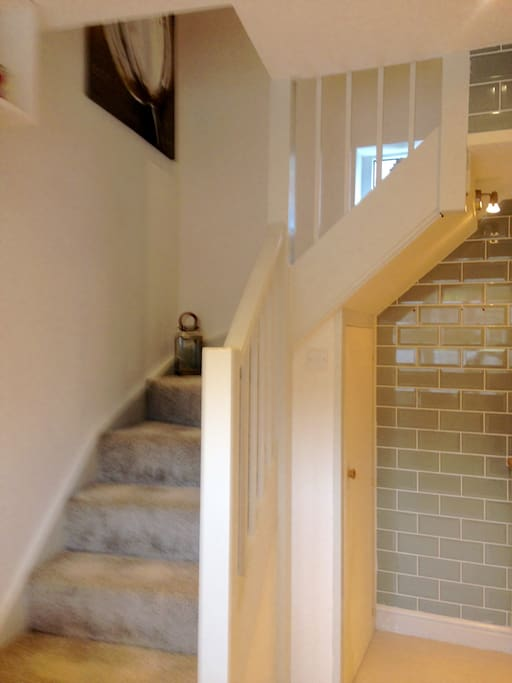 Small staircase leading to lovely first floor lounge/ diner