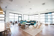 """My building has multiple common areas that are open to all guests. This is the """"Sky Lounge"""" located on the top floor just down the hall from my apartment."""