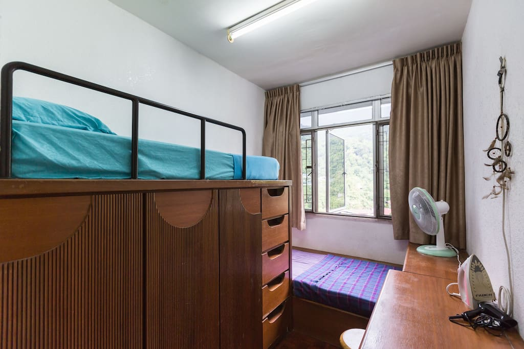 Wooden Double-decker style of bedroom with natural wind from the mountain.