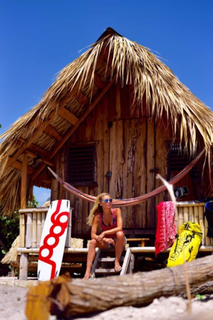 Bungalow in Buen Hombre Kite Camp on the beach