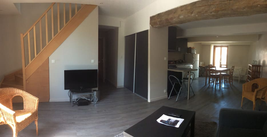 Duplex 2bedrooms flat, charming, pleasant overview - Oullins - Apartamento