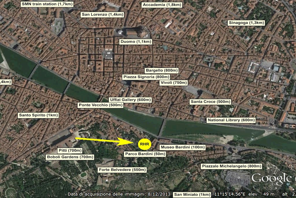 Distances between apartment ('RHR') and Florence's main attractions