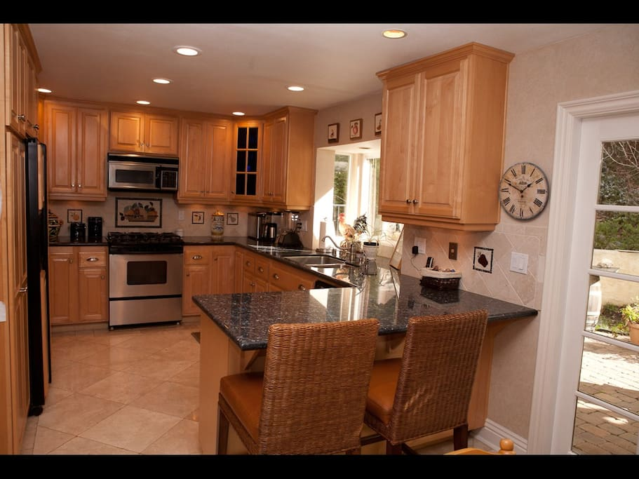 Newly remodeled Gourmet Chef kitchen, Tumbled marble and Blue Granite