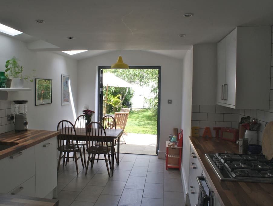 Kitchen with double doors opening out on to the garden