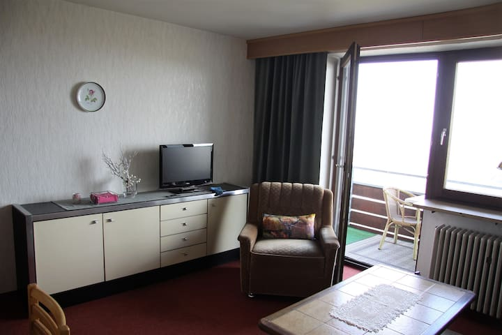 Wohnzimmer mit LCD-TV und Zugang zum Balkon