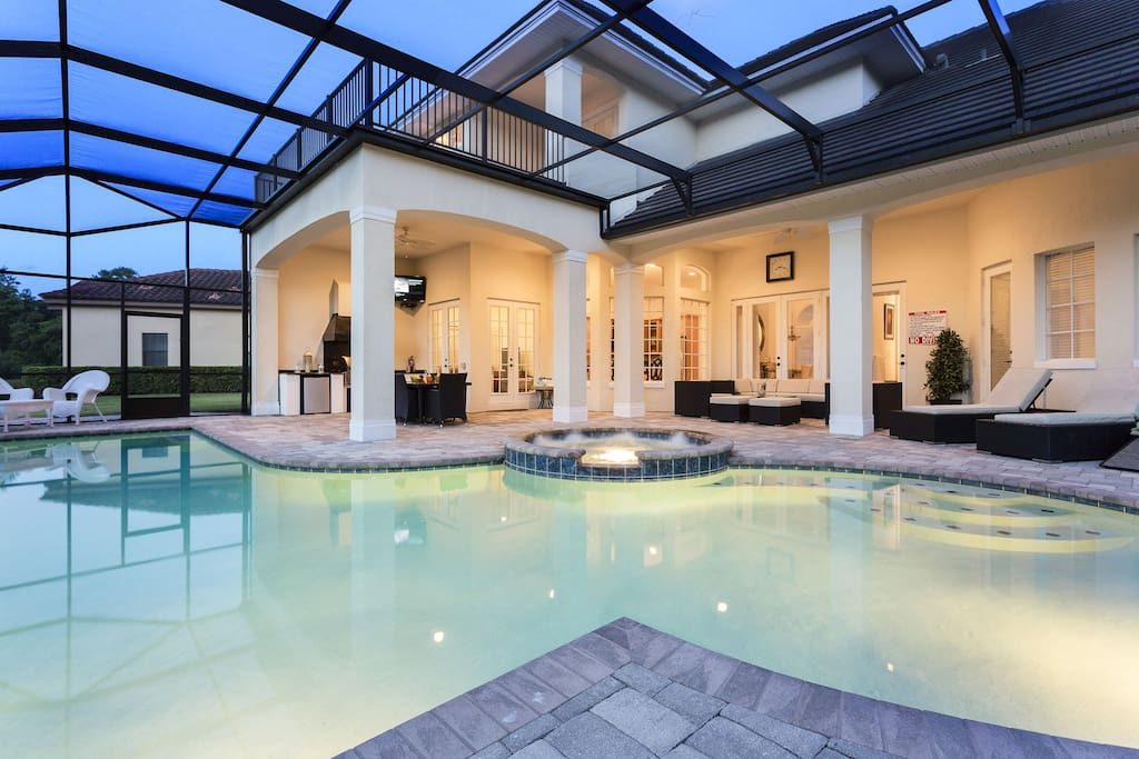Custom made private swimming pool and a hot tub