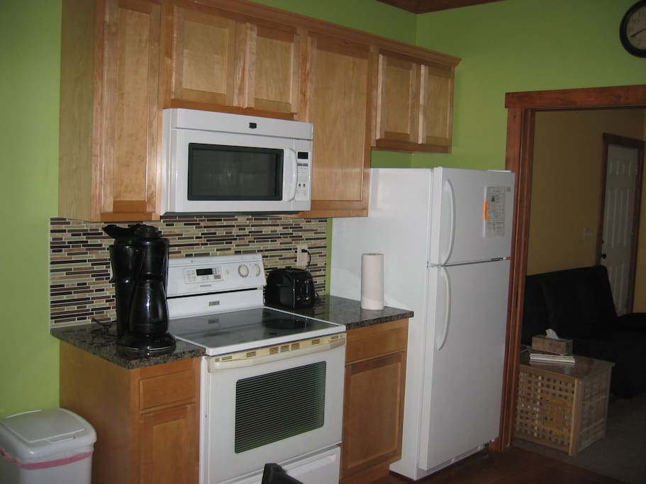 Full sized appliances!  Fully equipped.  Granite counter tops.