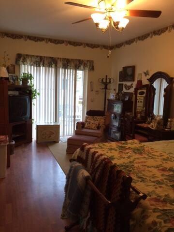 Looking towards outside sliding door; TV on left, chair & stool, dresser on right