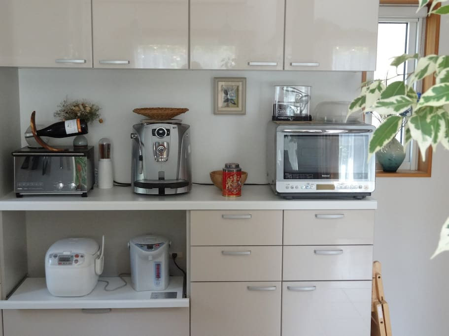 You are welcome to use Italian coffee machine as well as other kitchen utilities (IH stove, toaster, rice cooker and more!)