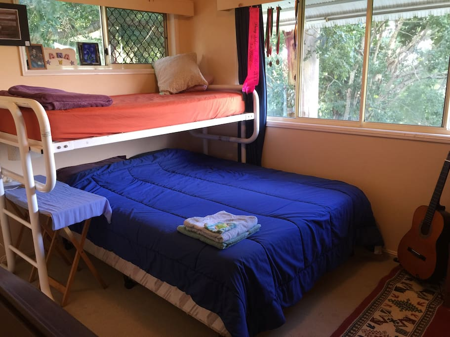 Queen bed and single bunk