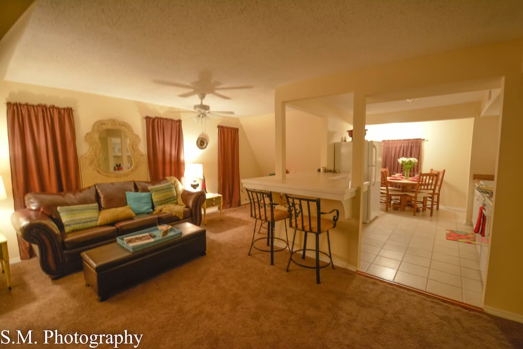 This wide view of the cozy living space of the living roon and kitchen
