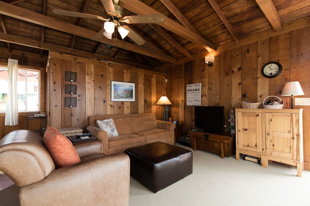 Open plan, with wood ceilings and walls. Comfortable pull out sofa