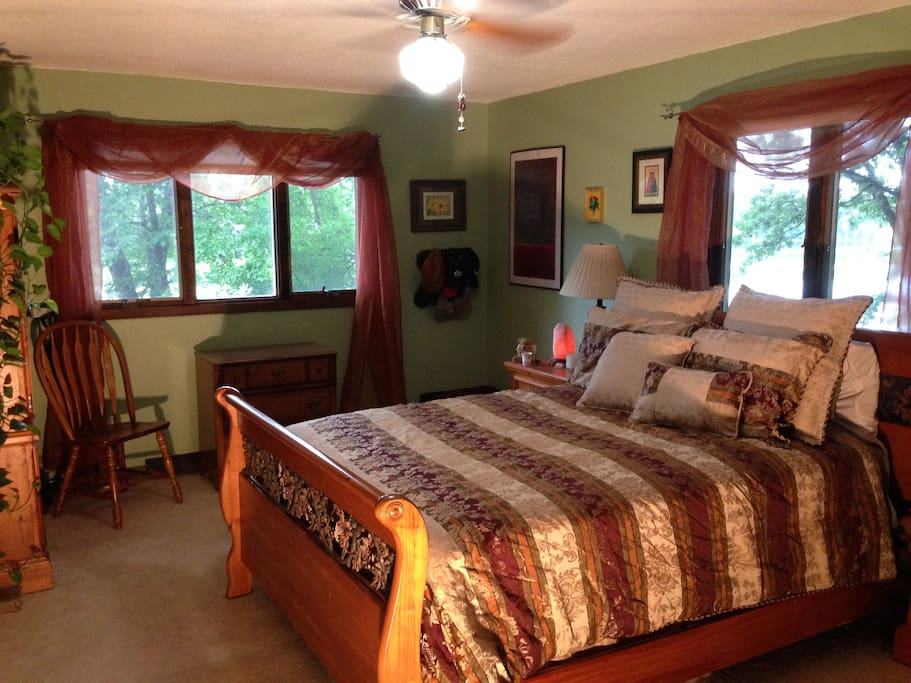 Private bedroom with queen bed, possible extra sleep areas as available