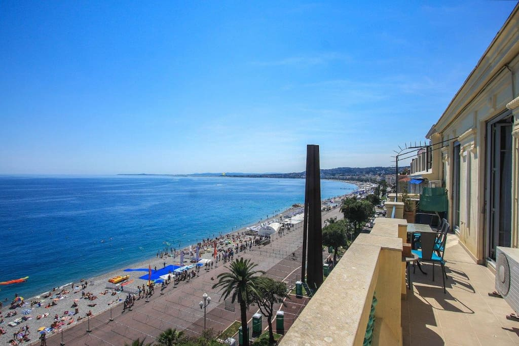 Seafront terrace with panoramic views