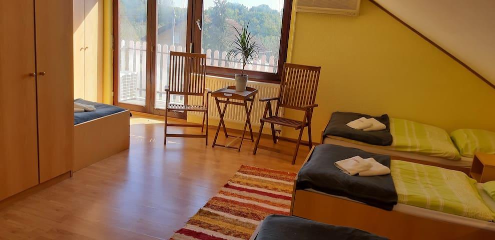Sobe s balkonom for4 +for1  Bilje, Baranja