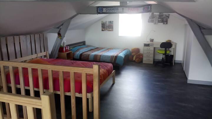 Chambre privée, 2 lits doubles