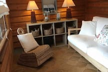 The sauna dressing room with the bed soffa