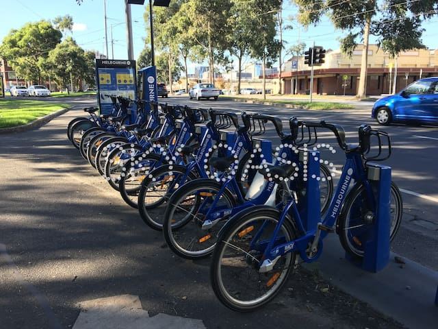 The bike share station is just a few mins walk away!