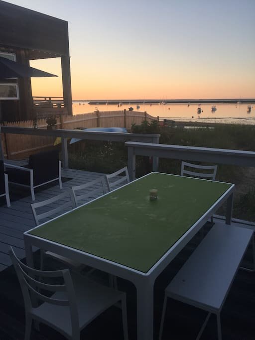 Deck w full outdoor living room and dining for eight. Breathtaking views