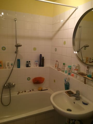 family bathroom with tub and shower for your convenience