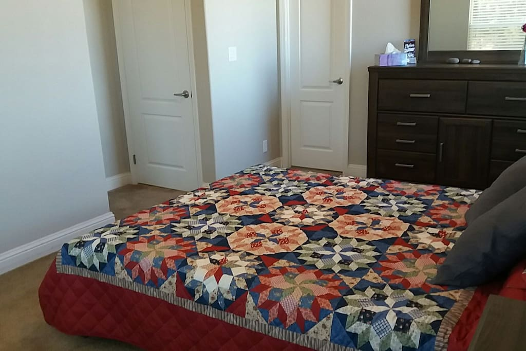 New bed with comfortable memory foam mattress.