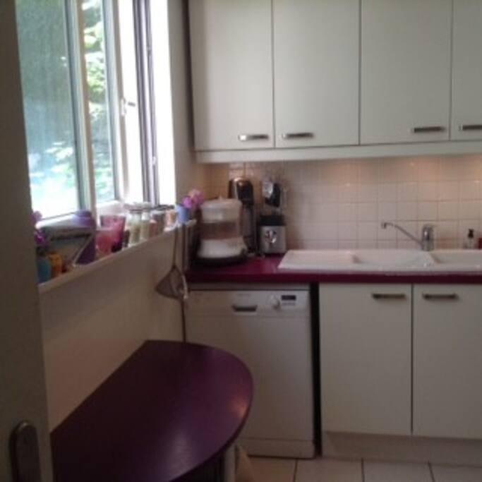 Cuisine totalement équipée. Lave-vaisselle, frigo/congélo, four électrique, four micro-ondes, table pour 2 personnes. Fenêtre.