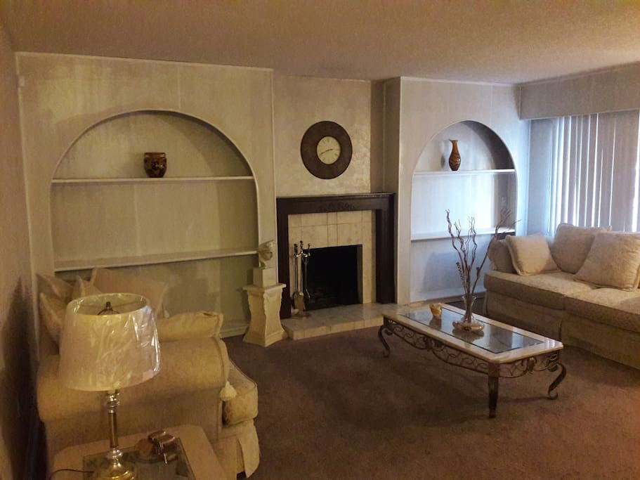 Living room with fireplace and decorative shelves