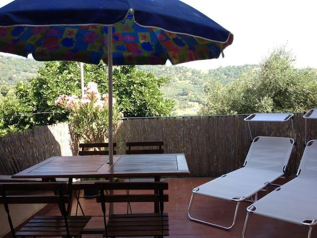 Terrazzo ampio con vista oliveti