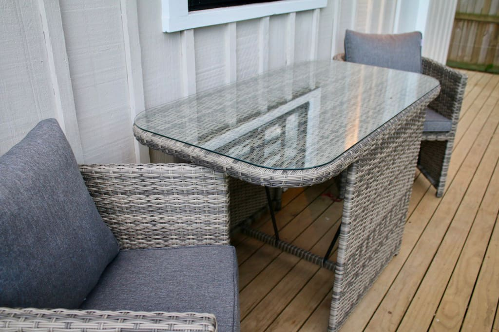 Decking with outdoor furniture.