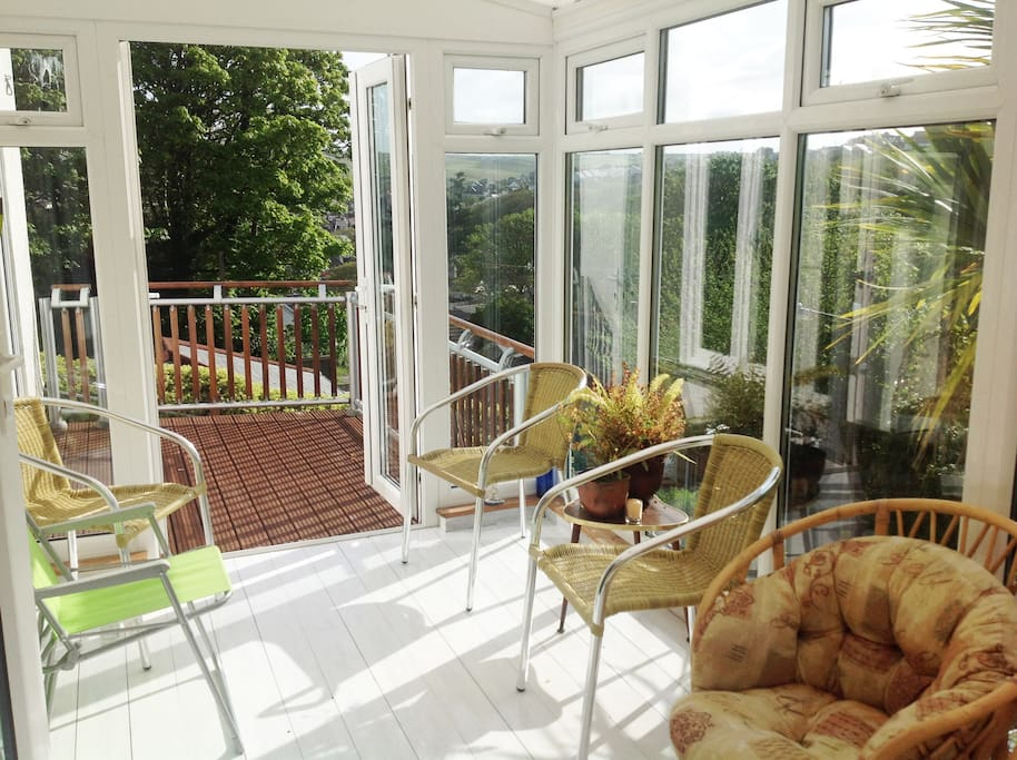 Conservatory and decking area.